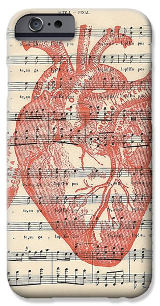 Biological Digital Art iPhone Cases - Heart Music iPhone Case by Nomad Art And  Design