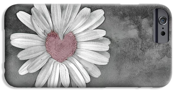 Best Sellers -  - Floral Digital Art Digital Art iPhone Cases - Heart Of A Daisy iPhone Case by Linda Sannuti
