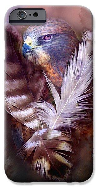 Heart Of A Hawk iPhone Case by Carol Cavalaris