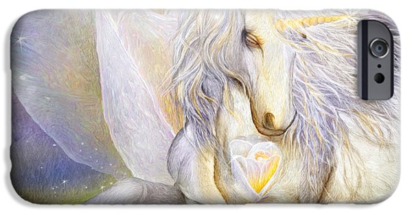 Unicorn Art iPhone Cases - Heart Of A Unicorn iPhone Case by Carol Cavalaris