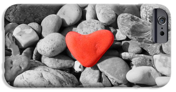 Colorkey iPhone Cases - Heart of stone iPhone Case by Heike Hultsch