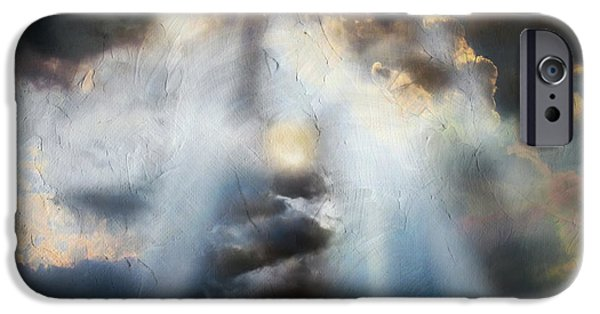 Storm Prints Mixed Media iPhone Cases - Heart Of The Storm - Abstract Realism iPhone Case by Georgiana Romanovna