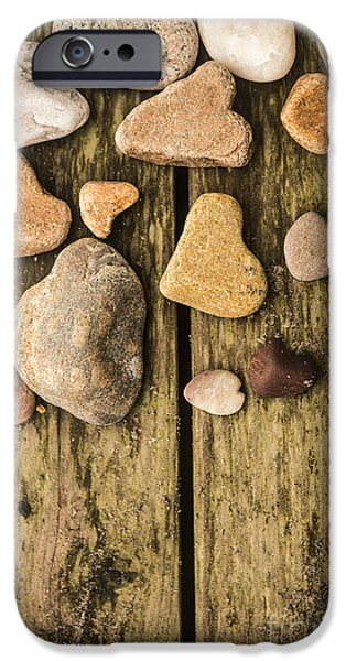 Rock Shapes iPhone Cases - Heart Shaped Rocks iPhone Case by Diane Diederich