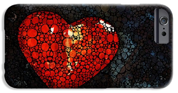 Mosaic iPhone Cases - Heart - Stone Rockd Art by Sharon Cummings iPhone Case by Sharon Cummings