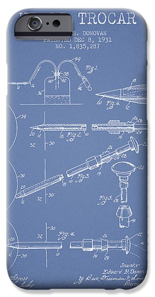 Surgery iPhone Cases - Heart Trocar patent from 1931 - Light Blue iPhone Case by Aged Pixel