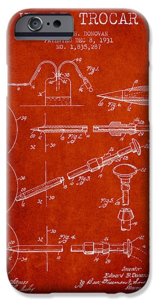Surgery iPhone Cases - Heart Trocar patent from 1931 - Red iPhone Case by Aged Pixel