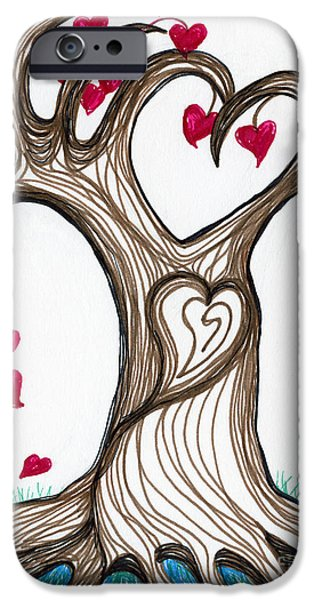 Abstract Digital Drawings iPhone Cases - Heartful Tree 4 You iPhone Case by Minnie Lippiatt