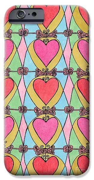 Hearts a'la Stained Glass iPhone Case by Mag Pringle Gire