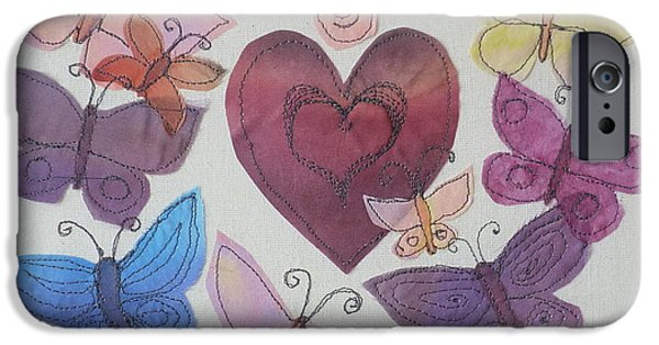 Insects Tapestries - Textiles iPhone Cases - Hearts and Butterflies iPhone Case by Hazel Millington