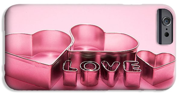Caption iPhone Cases - Hearts and love letters text on pink background iPhone Case by Michal Bednarek