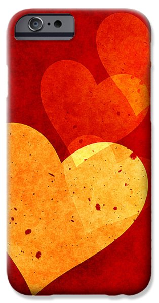 Home Decor Mixed Media iPhone Cases - Hearts Decor iPhone Case by Home Decor