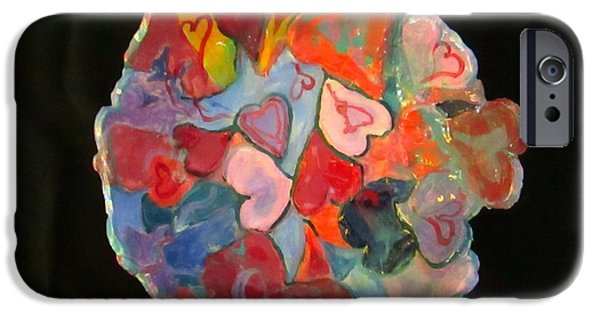 Colorful Abstract Ceramics iPhone Cases - Hearts Hand Built iPhone Case by Martha Nelson