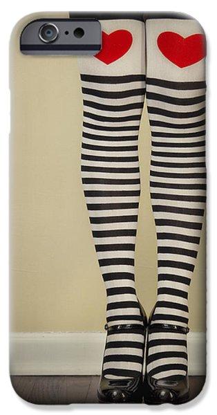 Socks iPhone Cases - Hearts n Stripes iPhone Case by Evelina Kremsdorf