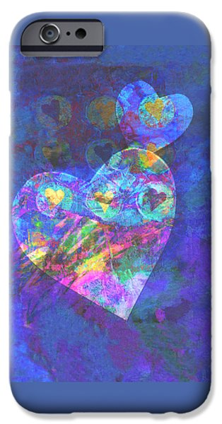 Hearts on Blue iPhone Case by Ann Powell