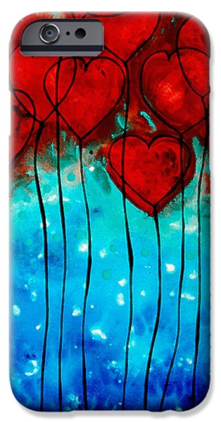 Aqua iPhone Cases - Hearts on Fire - Romantic Art By Sharon Cummings iPhone Case by Sharon Cummings