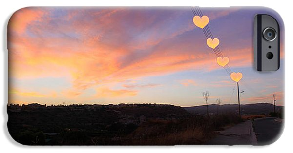 Amazing Sunset iPhone Cases - Hearts Sunset iPhone Case by Augusta Stylianou