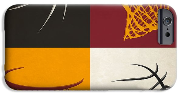 Miami Heat iPhone Cases - Heat Ball And Hoop iPhone Case by Joe Hamilton