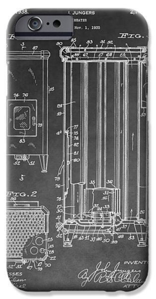 Electric Drawings iPhone Cases - Heater Patent iPhone Case by Dan Sproul