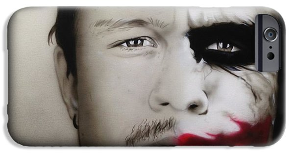 Celebrities Art Paintings iPhone Cases - Heath / Joker iPhone Case by Christian Chapman Art