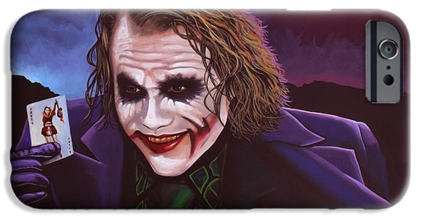 Rise iPhone Cases - Heath Ledger as the Joker 2 iPhone Case by Paul Meijering