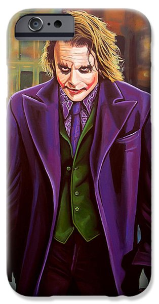 Film Paintings iPhone Cases - Heath Ledger as the Joker iPhone Case by Paul  Meijering