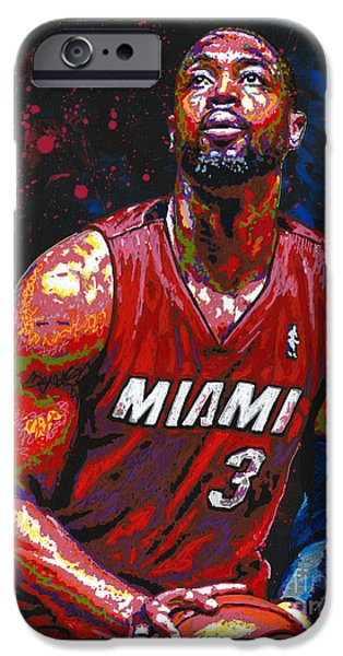 D Wade Paintings iPhone Cases - #heatlifer iPhone Case by Maria Arango