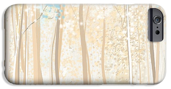 Beige Abstract iPhone Cases - Heavenly Woods- Teal And White Art iPhone Case by Lourry Legarde