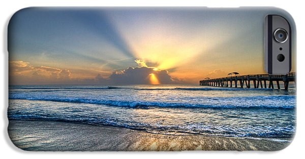 Ocean Sunset iPhone Cases - Heavens Door iPhone Case by Debra and Dave Vanderlaan