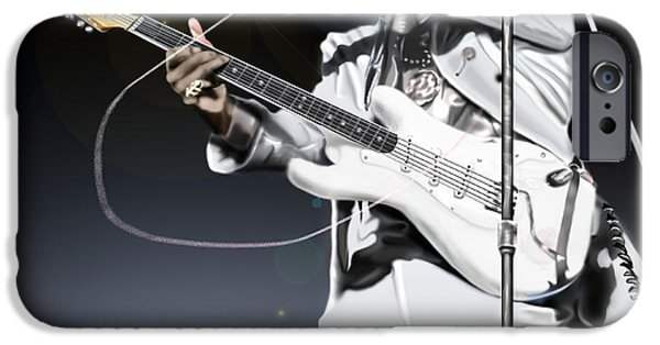 Super Stars iPhone Cases - Heavens Fire - The Jimi Hendrix Series  iPhone Case by Reggie Duffie
