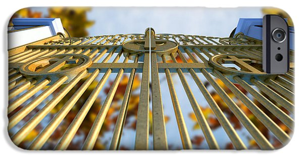Radiating Light iPhone Cases - Heavens Golden Gates And Autumn Leaves iPhone Case by Allan Swart