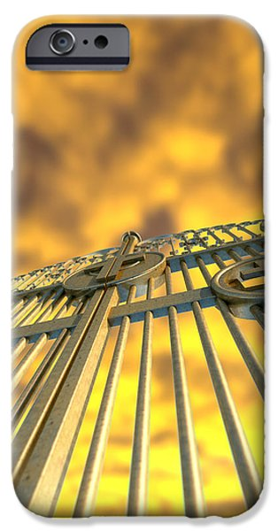 Radiating Light iPhone Cases - Heavens Golden Gates And Yellow Sky iPhone Case by Allan Swart