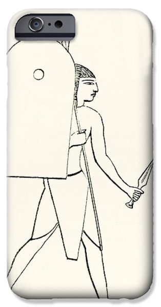 Egyptian iPhone Cases - Heavily Armed Ancient Egyptian Soldier. From The Imperial Bible Dictionary, Published 1889 iPhone Case by Bridgeman Images