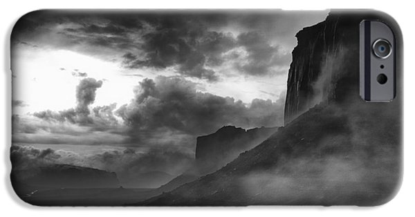 Digital Photography iPhone Cases - Heavy Clouds over Mitchell Mesa iPhone Case by Jesse Castellano