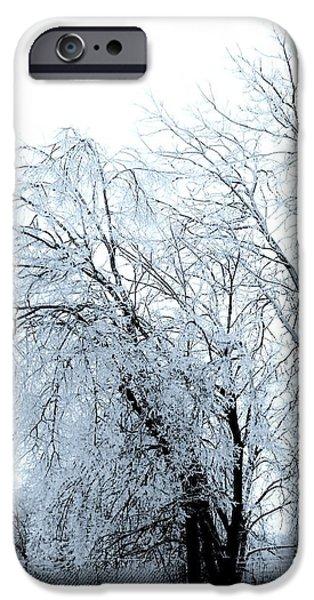 Wrap Digital Art iPhone Cases - Heavy Ice Tree Redo iPhone Case by Marsha Heiken