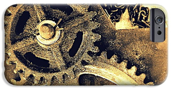 Machinery Pyrography iPhone Cases - Heavy Metal iPhone Case by Victoria Maxon