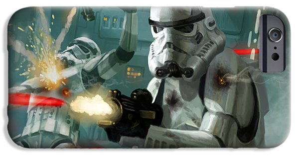 Stars iPhone Cases - Heavy Storm Trooper - Star Wars the Card Game iPhone Case by Ryan Barger