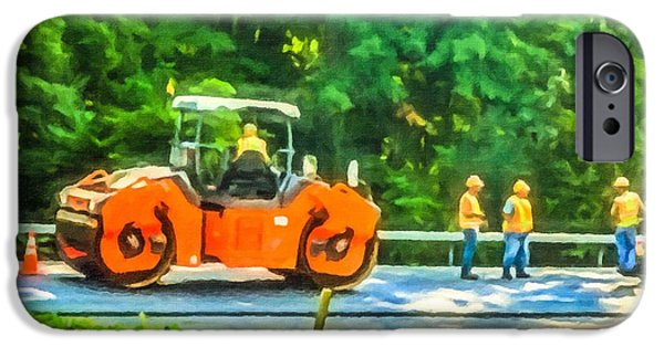 Recently Sold -  - Machinery iPhone Cases - Heavy Tandem Vibration Roller Compactor At Asphalt Pavement Works For Road Repairing 2 iPhone Case by Lanjee Chee