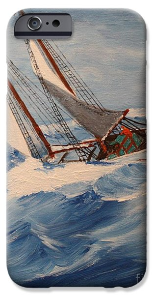 Tall Ship iPhone Cases - Heavy Weather iPhone Case by Bill Hubbard