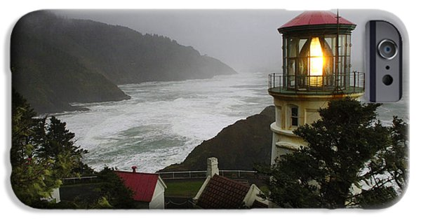 Lighthouse iPhone Cases - Heceta Head Lighthouse 1 iPhone Case by Bob Christopher