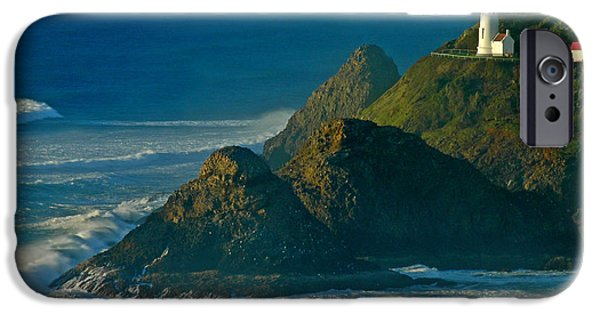 Lighthouse iPhone Cases - Heceta Head Seascape iPhone Case by Nick  Boren