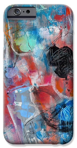 Concept Paintings iPhone Cases - Hectic iPhone Case by Katie Black