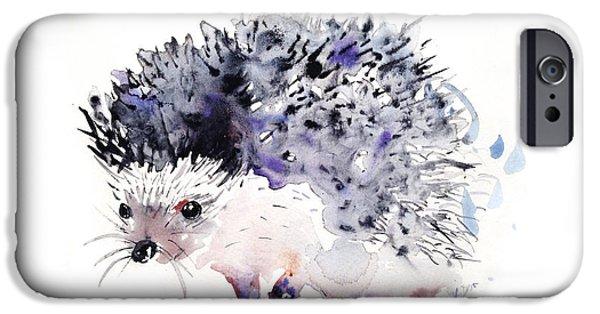 Rain iPhone Cases - Hedgehog iPhone Case by Kristina Broza