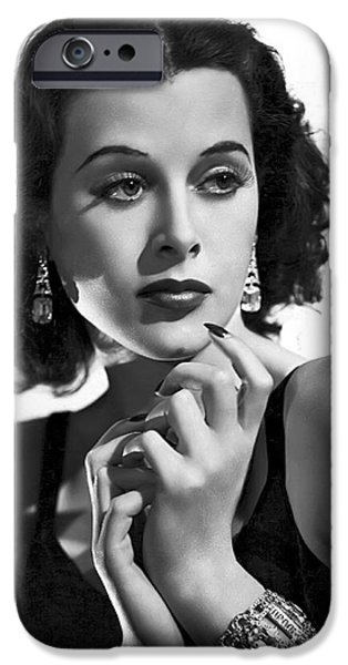 Film Noir iPhone Cases - HEDY LAMARR - BEAUTY and BRAINS iPhone Case by Daniel Hagerman