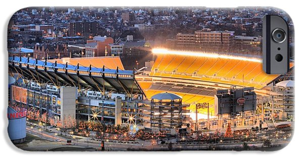 Heinz Field iPhone Cases - Heinz Field At Night iPhone Case by Adam Jewell