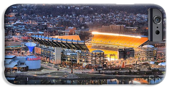 Heinz Field iPhone Cases - Heinz Field Reflections In The Ohio iPhone Case by Adam Jewell