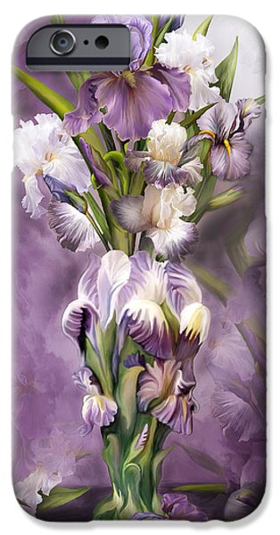 Flower Still Life Mixed Media iPhone Cases - Heirloom Iris In Iris Vase iPhone Case by Carol Cavalaris