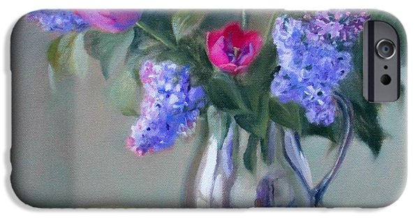 Business Paintings iPhone Cases - Heirlooms- Lilacs and Tulips in a Silver Pitcher iPhone Case by Bonnie Mason
