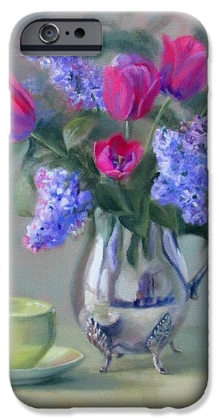 Old Pitcher Paintings iPhone Cases - Heirlooms- Lilacs and Tulips in a Silver Pitcher iPhone Case by Bonnie Mason