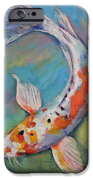 Butterfly Koi iPhone Cases - Heisei Nishiki Koi iPhone Case by Michael Creese
