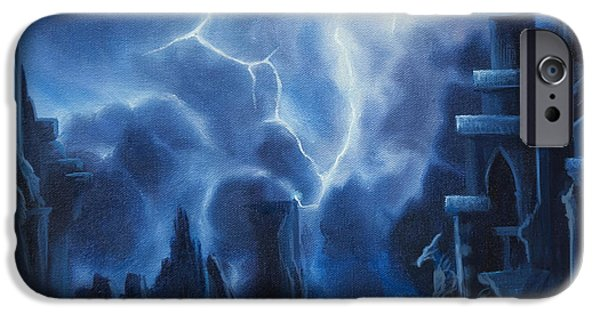 Thunder Paintings iPhone Cases - Heisenburgs Castle iPhone Case by James Christopher Hill